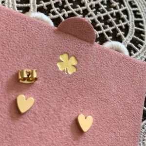New Lucky Brand tiny gold heart studs